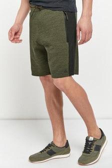 Khaki Jersey Shorts With Zip Pockets