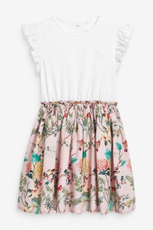 Pink Hummingbird Print Dress (3-12yrs)
