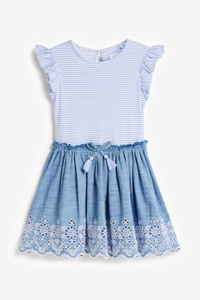 Blue Stripe Broderie Dress (3-12yrs)