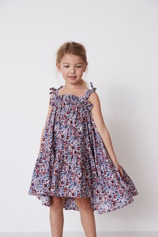 Pink Ditsy Cotton Tie Shoulder Dress (3-16yrs)