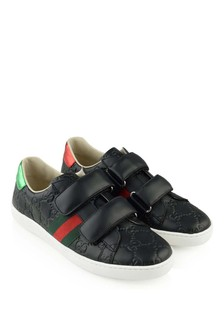 GUCCI Kids Black Leather GG Logo Trainers