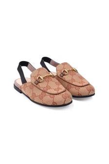 GUCCI Kids Beige GG Slingback Shoes