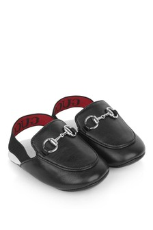 GUCCI Kids GUCCI Black Leather Princetown Baby Slippers