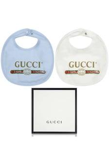 GUCCI Kids Baby Boys Blue Bib Gift Set