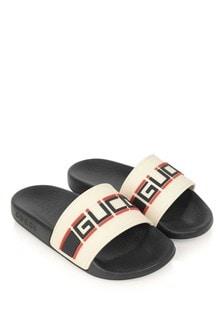 GUCCI Kids Boys Ivory/Black Rubber Stripe Sliders