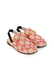 GUCCI Kids Red Princetown GG Canvas Slippers