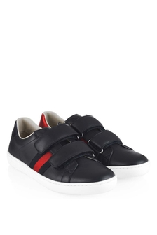 GUCCI Kids Navy Blue Leather Velcro Strap Trainers