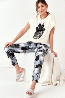 Blue Cactus Cotton Blend Short Sleeve Pyjamas