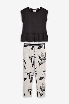 Monochrome Floral Cotton Pyjamas