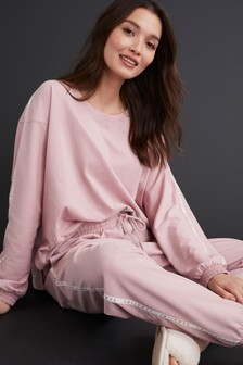 Pink With Side Stripe Cotton Blend Pyjamas