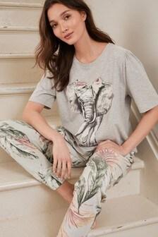 Grey Elephant Cotton Blend Pyjamas with Scrunchie