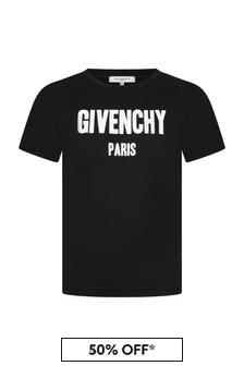 Givenchy 키즈 보이즈 로고 프린트 탑