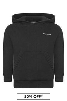 Balenciaga Kids Logo Print Hooded Sweater