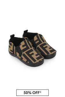 Fendi Kids Baby Beige FF Logo Pre-Walker Shoes