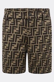 Fendi Kids Boys Brown FF Logo Shorts