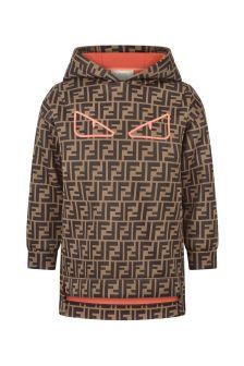 Fendi Kids Girls Brown Logo Hooded Sweater