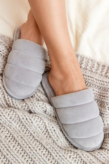 Grey Padded Quilted Mule Slippers