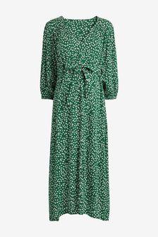 Green Ditsy Print Maternity Tie Waist Asymmetric Hem Dress