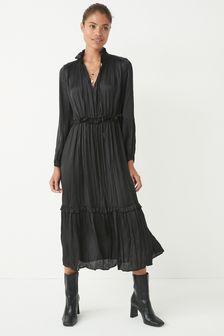 Black Satin Tie Neck Midi Dress
