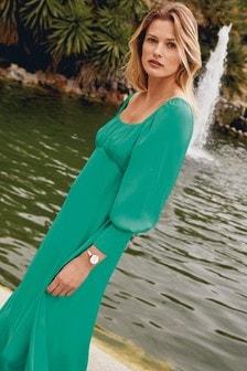 Green Square Neck Satin Midi Dress