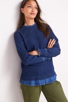 Dark Blue Jersey Denim Layer Sweatshirt