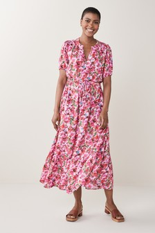 Pink Printed Belted Dress