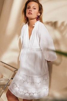 White Broidery Mini Dress