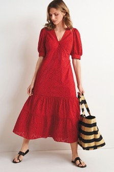 Red Broderie Maxi Dress