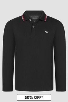 Emporio Armani Boys Black Polo Shirt