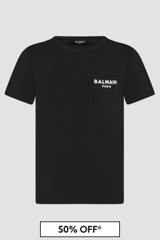Balmain Boys Black T-Shirt