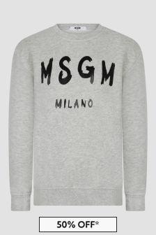 MSGM Kids Grey Sweat Top