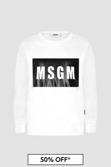 MSGM Kids White Sweat Top