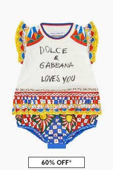 Dolce & Gabbana Kids Baby Girls White Rompersuit