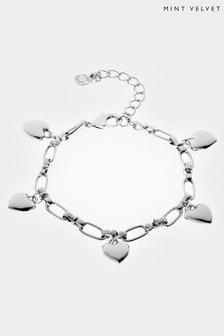 Silver Mint Velvet Silver Tone Heart Bracelet
