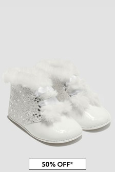Andanines Baby Girls White Boots