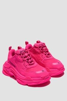 Balenciaga Kids Girls Pink Triple S Trainers
