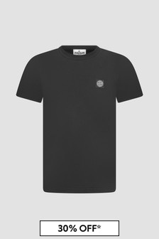 Stone Island Junior Boys Black T-Shirt