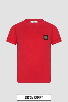 Stone Island Junior Boys Red T-Shirt