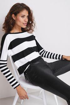 Black/White Stripe Dolman Long Sleeve Top