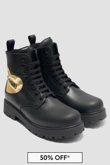 Moschino Kids Girls Black Boots