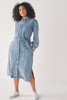Fuller Bust Blue Long Sleeve Denim Shirt Dress