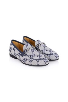 GUCCI Kids Navy GG Canvas Loafers