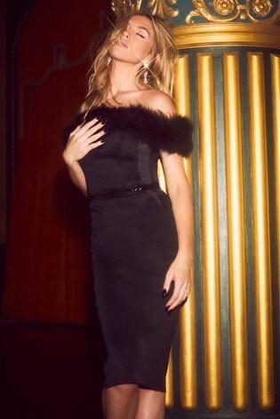 Shoptagr Abbey Clancy X Lipsy Feather Bardot Midi Dress By Next