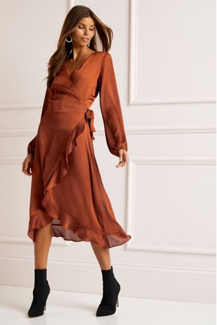 Buy Lipsy Ruffle Wrap Midi Dress from the Next UK online shop