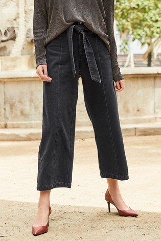ea538ea93ac5f Buy Black Belted High Waist Wide Leg Ankle Jeans from Next Singapore