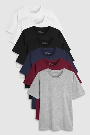 84d45130c Buy Multi Slim Fit Mixed Colour T-Shirts Seven Pack from Next Ireland