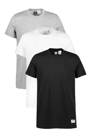 vente chaude en ligne 99af9 be699 adidas Originals Black/White/Grey T-Shirts 3 Pack