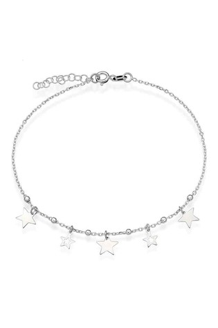 Beaverbooks Sterling Silver Star Anklet