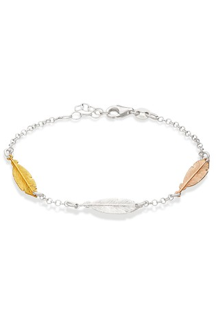 Beaverbrooks Sterling Silver Rose & Yellow Gold Plated Triple Feather Bracelet