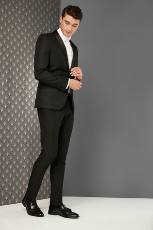 superior materials how to serch low priced Black Skinny Fit Textured Tuxedo Suit: Jacket